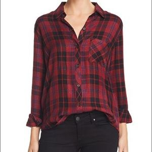 Rails size med dark red and metallic plaid
